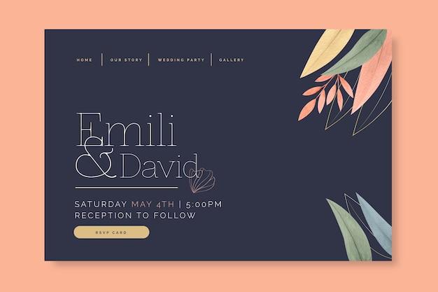 Concepto de página de destino de boda mínima