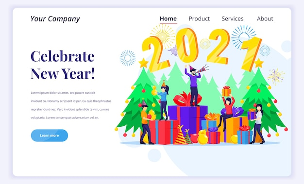 Concepto de página de destino de celebrar el año nuevo.