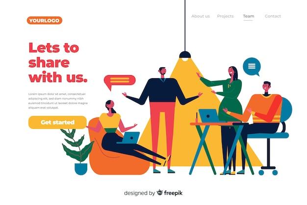 Concepto de página de destino de compañeros de trabajo