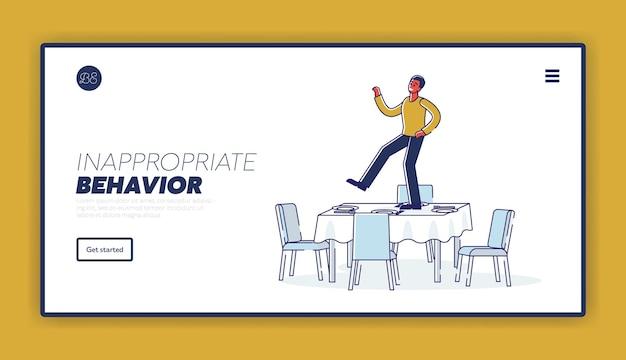 Concepto de página de destino de comportamiento inapropiado con borracho bailando en la mesa servida durante un evento en una fiesta o evento de vacaciones