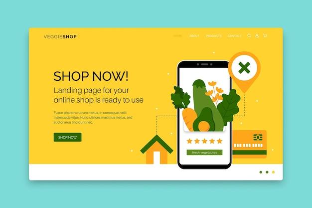 Concepto de página de destino de compras en línea