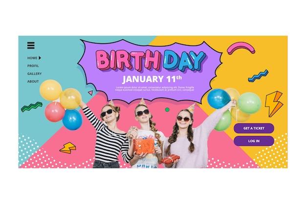 Concepto de página de destino de cumpleaños
