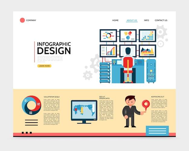 Concepto de página de destino de diseño de infografía plana