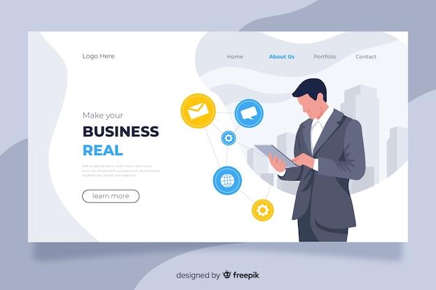 Concepto de página de destino empresarial