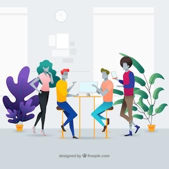 Concepto de página de destino con gente en oficina