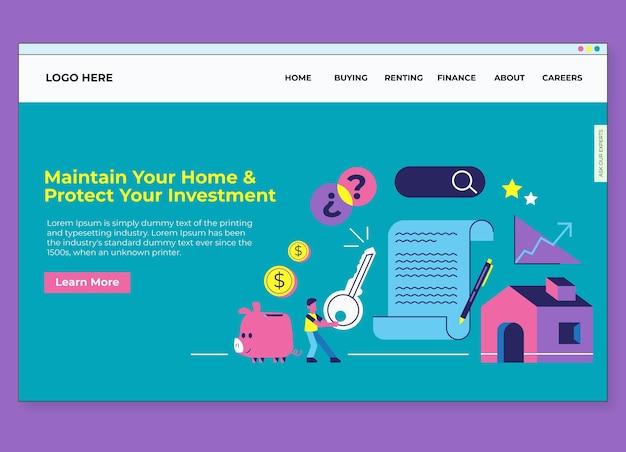 Concepto de página de destino de hipotecas