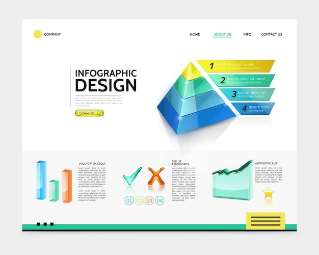 Concepto de página de destino de infografía realista