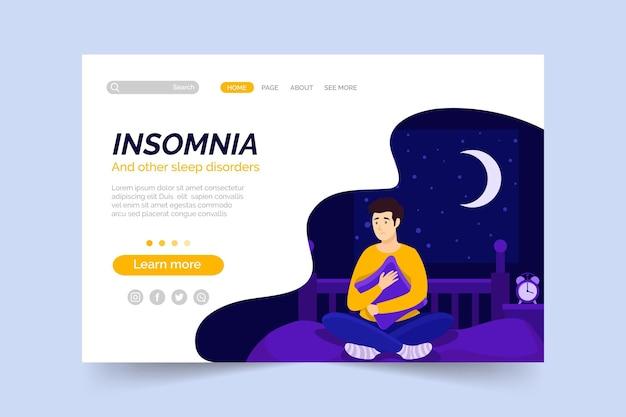 Concepto de página de destino de insomnio