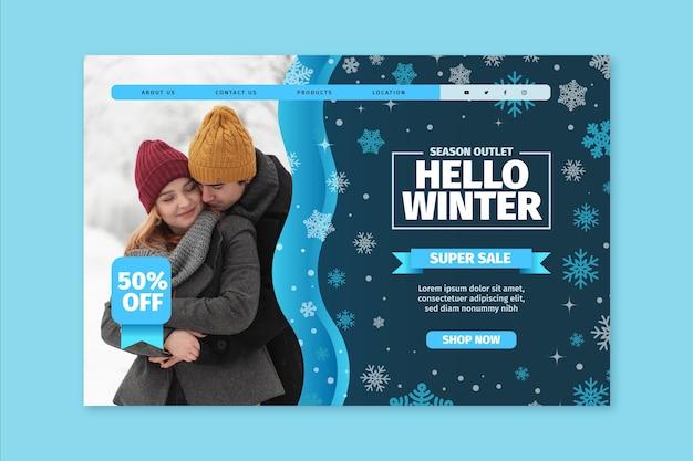 Concepto de página de destino de invierno