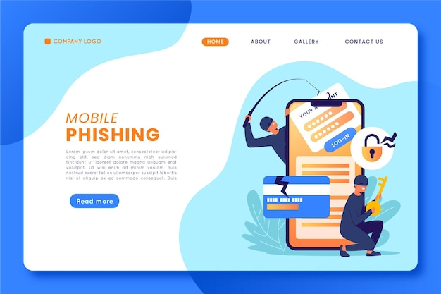 Concepto de página de destino de phishing móvil