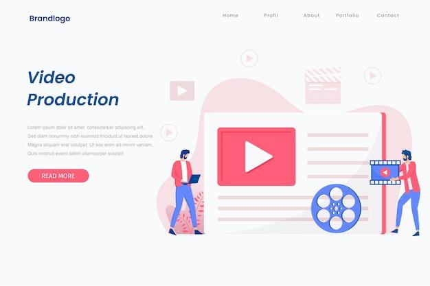 Concepto de página de destino de producción de video.