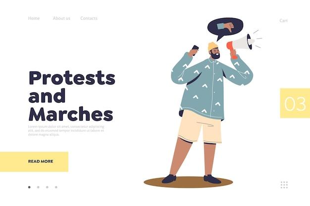 Concepto de página de destino de protestas y marchas con activista que protesta