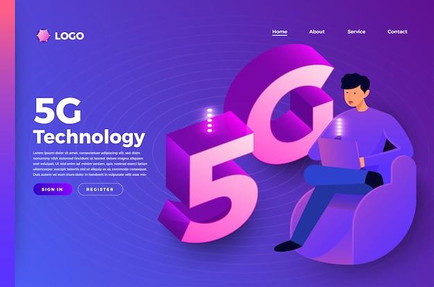 Concepto de página de destino del sitio web de maquetas personas conectando tecnología. ilustrar.