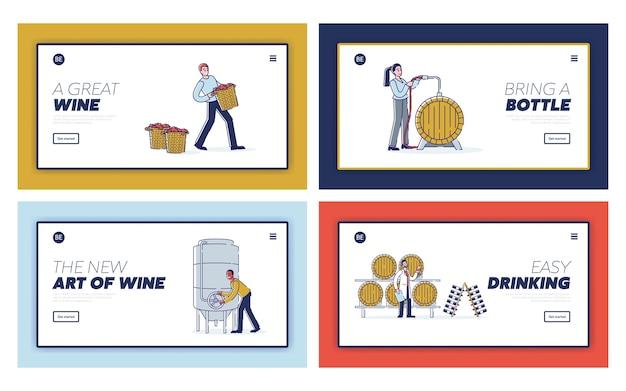 Concepto de página de destino del sitio web de producción de vino
