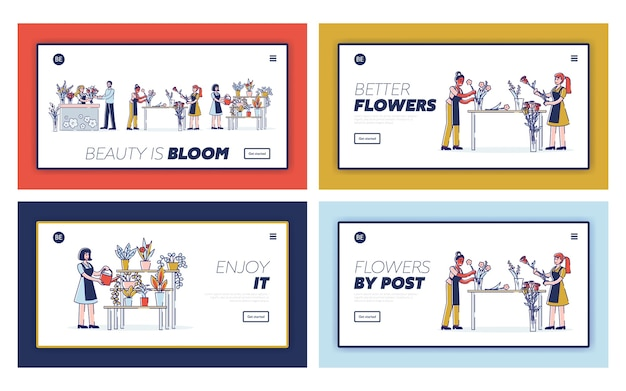 Concepto de página de destino del sitio web de la profesión de florista