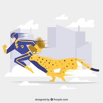 Concepto de página de destino con superhéroe y guepardo