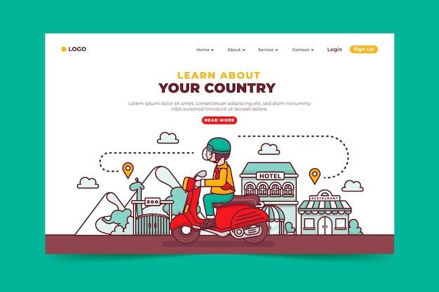 Concepto de página de destino de turismo local