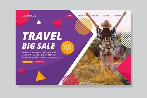 Concepto de página de destino de venta de viajes