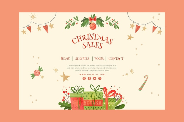 Concepto de página de destino de ventas navideñas