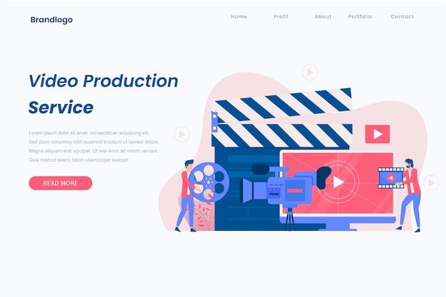 Concepto de página de inicio de producción de video.