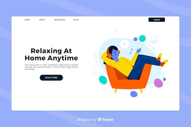 Concepto de página de inicio relajante en casa