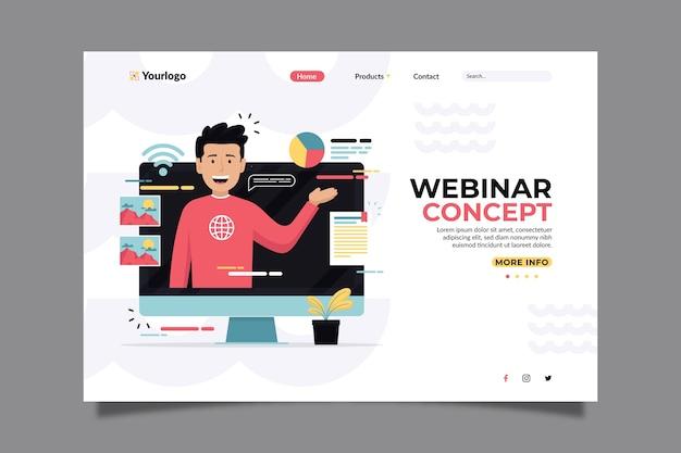 Concepto de página de inicio de seminarios web