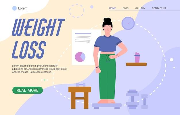 Concepto de página web de pérdida de peso