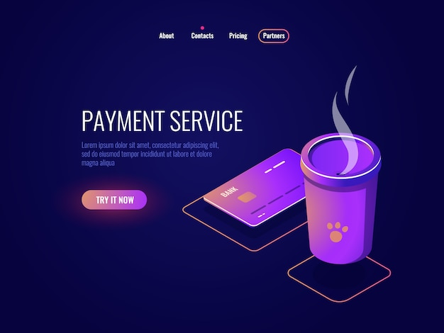 Concepto de pago y banca en línea, tarjeta de crédito, taza de café, dinero electrónico, neón oscuro.