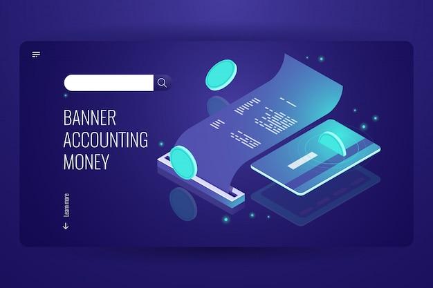 Concepto de pago blockchain, pago por internet isométrico en línea y banco, factura electrónica