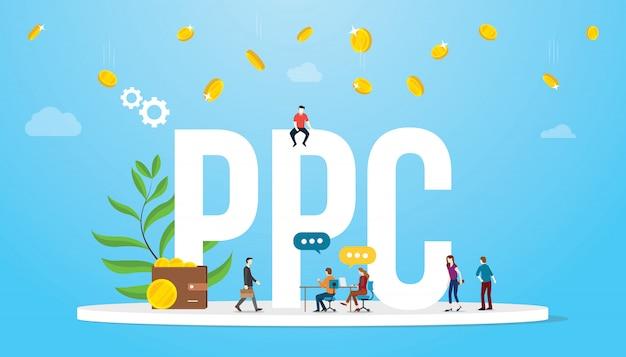 Concepto de pago por clic en publicidad de afiliados de negocios con grandes palabras