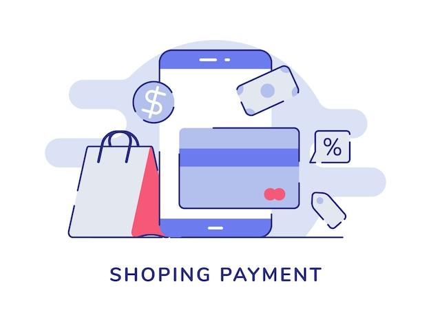 Concepto de pago de compras smartphone tarjeta banco dinero dólar bolsa fondo blanco aislado