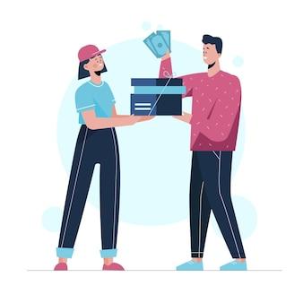 Concepto de pago contra reembolso con hombre y mujer