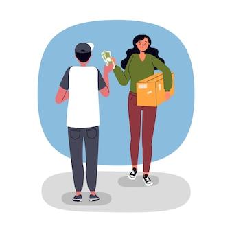 Concepto de pago contra reembolso ilustrado con hombre y mujer