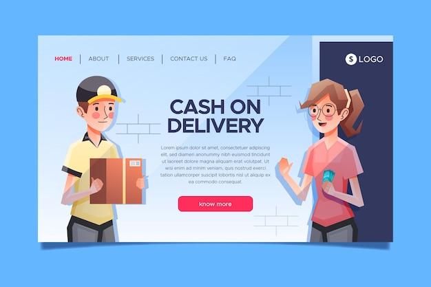 Concepto de pago contra reembolso - página de destino