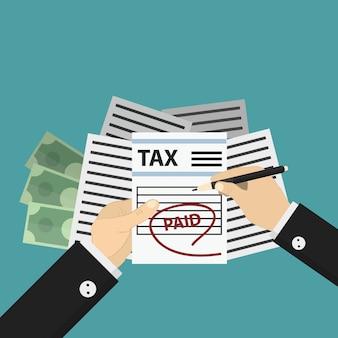 Concepto de pago de impuestos y economía sobre fondo azul.