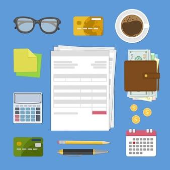 Concepto de pago de impuestos y factura.
