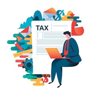 Concepto de pago de impuestos en línea.