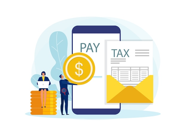 Concepto de pago de impuestos, pago comercial a través de línea con documento para ilustración plana de impuestos