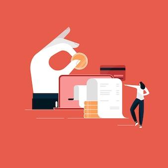 Concepto de pago en línea, computadora portátil con factura electrónica, ilustración de transacción financiera, pago digital