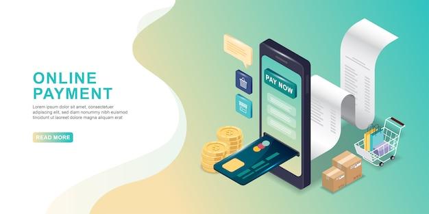 Concepto de pago en línea. pago móvil o transferencia de dinero con smartphone isometric. mercado de comercio electrónico de compras en línea.