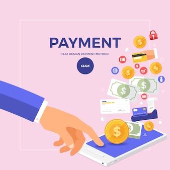Concepto de pago en línea plana con click en móvil.
