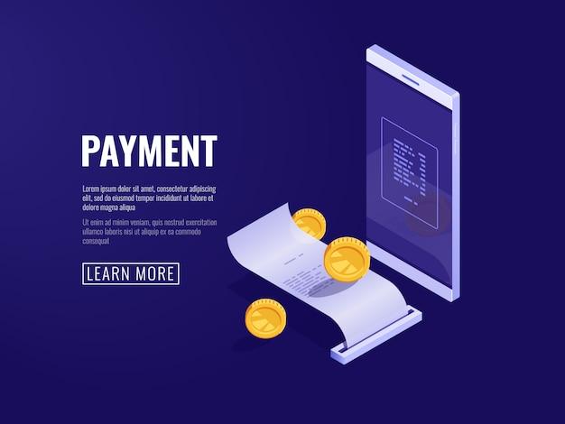 Concepto de pago en línea con teléfono móvil y recibo en papel, factura electrónica y sistema de facturación.