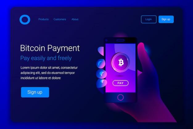 Concepto de pago móvil bitcoin.