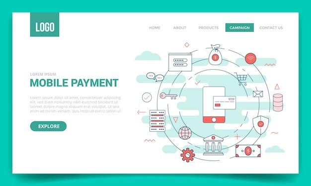 Concepto de pago móvil con icono de círculo para plantilla de sitio web o página de destino