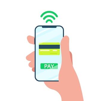 Concepto de pago móvil. mano sosteniendo un teléfono. transferencia inalámbrica de dinero por teléfono inteligente. diseño plano.