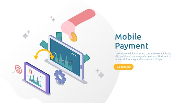 Concepto de pago móvil o transferencia de dinero para la ilustración en línea de compras en el mercado de comercio electrónico con carácter de personas pequeñas. plantilla para página de inicio web, banner, presentación, redes sociales, medios impresos