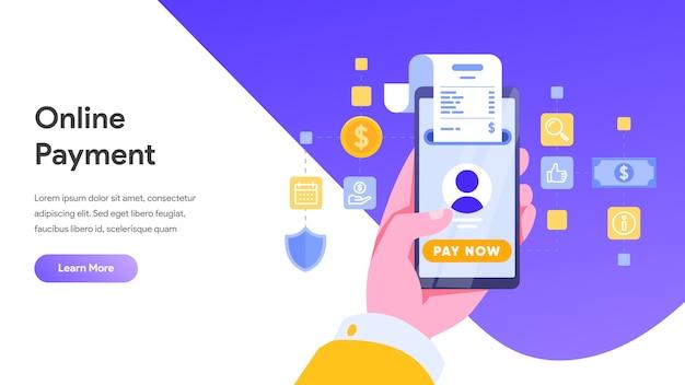 Concepto de pago móvil o transferencia de dinero para la página de destino, página de inicio, sitio web