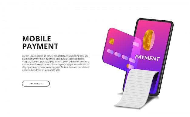 Concepto de pago móvil de perspectiva 3d con ilustración de tarjeta de crédito, moneda de oro y factura.