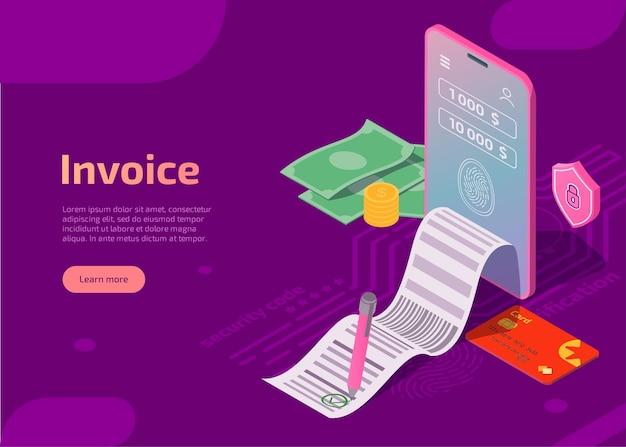Concepto de pago móvil de seguridad de ilustración de factura