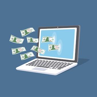 Concepto de pago online. portátil isométrico con dinero en efectivo en la pantalla. servicios de pago, compras, reposición de cuenta bancaria.